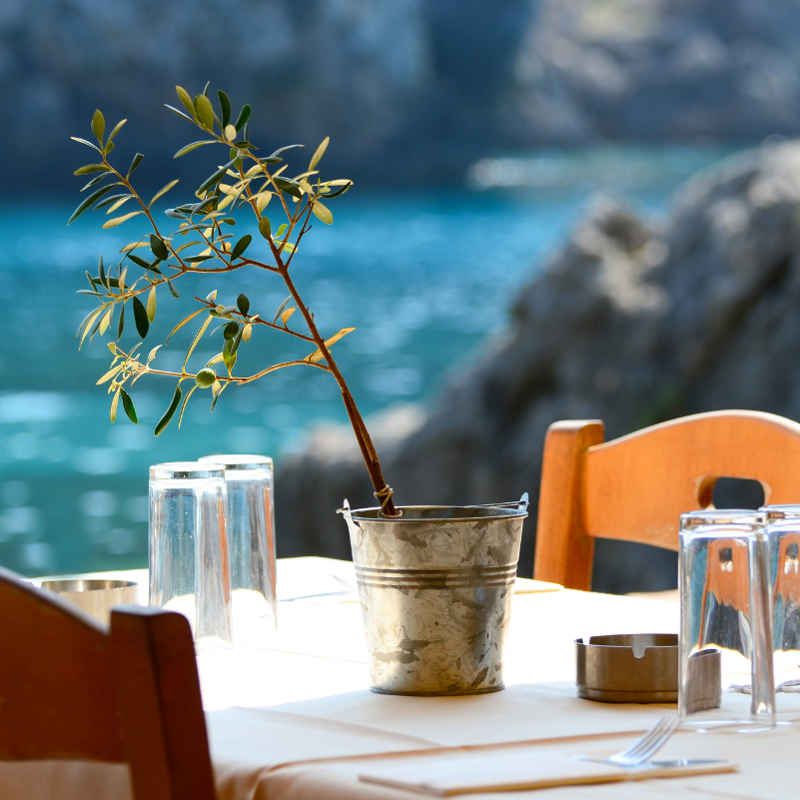 Crete seaside outdoor restaurant